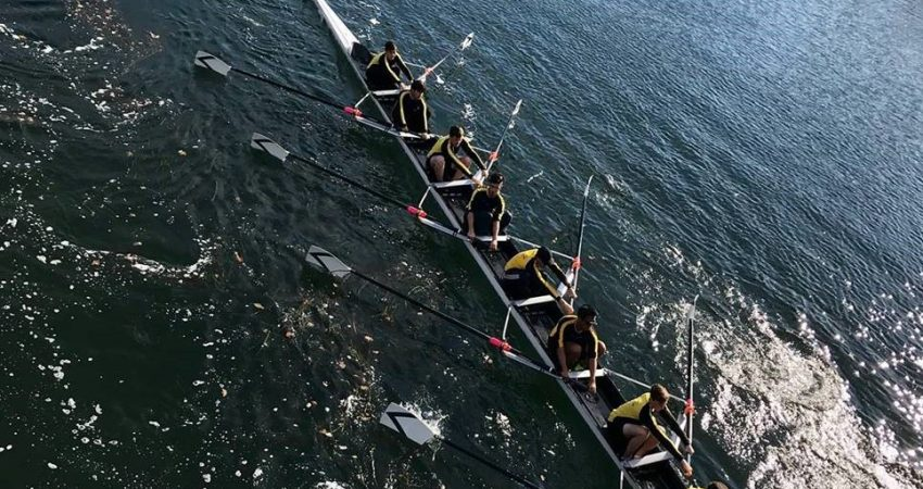 Mt. Doug Boys Rowing Team pulling together on the Gorge Waterway